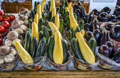 Vegetables & market. Colorful vegetables at the local market on a wood counter Stock Photo