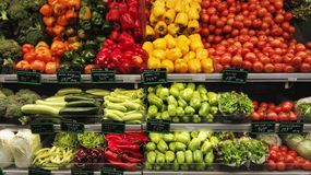 Vegetables in market. Vegetables in different colors royalty free stock photography