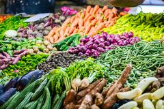 Vegetables at market. Fresh organic vegetables in outdoor market Stock Photo