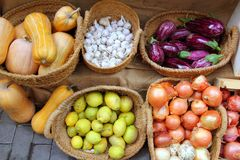 Vegetables market garlic onion lemon eggplant Royalty Free Stock Photography