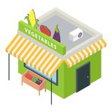 Vegetables market icon, isometric style. Vegetables market icon. Isometric of vegetables market vector icon for web design isolated on white background stock photography