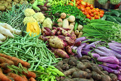 Vegetables on market in india. Heap of various vegetables on market in asia Stock Image