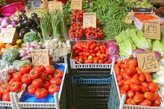 Vegetables Market Italy. Fresh Vegetables at Farmers Market Stall in Rome Italy Royalty Free Stock Photos