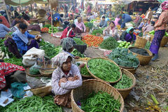 Vegetables market in Myanmar Stock Photos