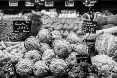 Vegetables at the market, Rouen, France. A b&w image showing some vegetables at a market in Rouen, France Royalty Free Stock Photography