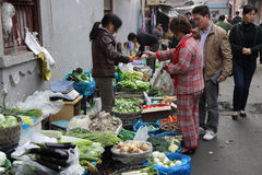 Vegetables market in Shanghai Stock Photos