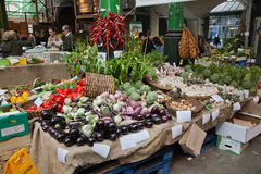 Vegetables on market stall royalty free stock photo