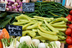 Vegetables on market stall Stock Images