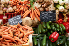 Vegetables on market stall Stock Photo