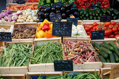 Vegetables on market stall Royalty Free Stock Photos