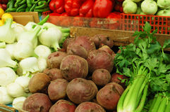 Vegetables on market stand Royalty Free Stock Photos