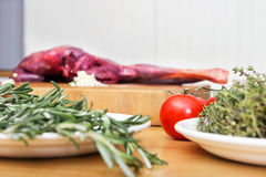 Vegetables And Meat On Kitchen Counter Stock Photo