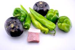 Vegetables, meat mix Stock Photos