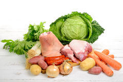 Vegetables and meat for the pot-au-feu Stock Photos