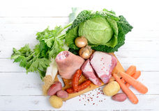 Vegetables and meat for the pot-au-feu Royalty Free Stock Image