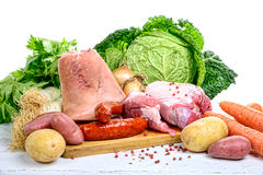 Vegetables and meat for the pot-au-feu Stock Photo
