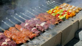 Vegetables and meat are roasted on the grill. On the barbecue grilled vegetables, potatoes and meat, exudes smoke stock video footage