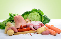 Vegetables and meats for preparing a hotpot Royalty Free Stock Photos