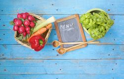 Vegetables menu black board Stock Photography