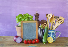Vegetables and menu black board, Royalty Free Stock Photography