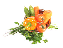 Vegetables in a metal colander royalty free stock photography