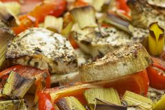Vegetables mix baked in the oven with aubergine, red bell pepper, leek, basil and olive oil. Stock Photography