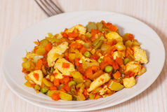 Vegetables mix and chicken Royalty Free Stock Photography