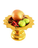 Vegetables mix with golden tray. On white background Royalty Free Stock Photos