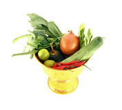 Vegetables mix on golden tray. On white background Royalty Free Stock Images