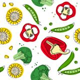 Vegetables mix seamless pattern. Corn, pepper, broccoli, pea. vector illustration