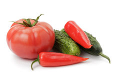 Vegetables mix with tomatoes pepper and cucumbers Royalty Free Stock Image