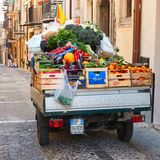 Vegetables in mobile shop of greengrocer royalty free stock images