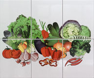 Vegetables mosaic tiles. For decoration Royalty Free Stock Photos