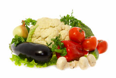 Vegetables and mushrooms. On white backgroung Royalty Free Stock Images