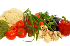 Vegetables and mushrooms. On white backgroung Royalty Free Stock Image