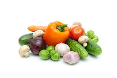 Vegetables and mushrooms isolated on white background Stock Images