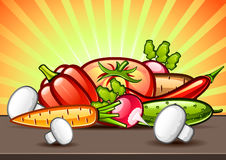 Vegetables and mushrooms on the table. Vegetables and mushrooms on the brown table Vector Illustration