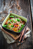 Vegetables with noodles Stock Images