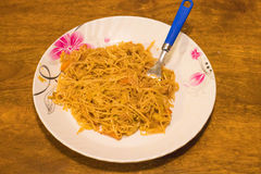 Vegetables noodles served in a plate royalty free stock photos
