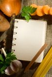 Vegetables and notepad Stock Photo