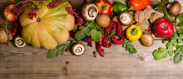 Vegetables, nuts, berries and  fruits Stock Photos
