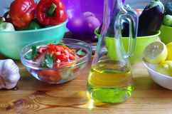 Vegetables and oil Royalty Free Stock Photography