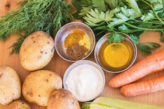 Vegetables, oil, sour cream and spices Royalty Free Stock Images