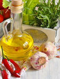 Vegetables and oilive oil. Stock Photography