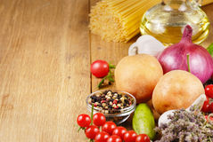 Vegetables ,olive oil and spices Stock Photo