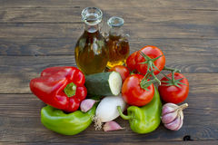 Vegetables, olive oil and vinegar Royalty Free Stock Image