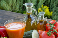 Vegetables, olive oil and vinegar Stock Photography