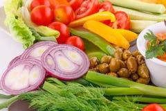 Vegetables, olives, lemon Stock Photo