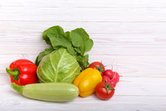 Vegetables On Wooden Background Royalty Free Stock Photos