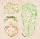 Vegetables onion, napa cabbage, olives country Royalty Free Stock Images